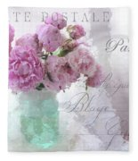 Paris Peonies - Parisian Pink Peonies Pink Aqua French Decor - Paris Floral Wall Art Home Decor  Fleece Blanket