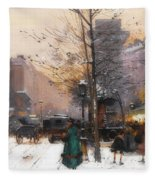 Paris, Porte Saint Denis In Winter Fleece Blanket