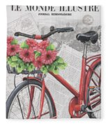 Paris Ride 2 Fleece Blanket by Debbie DeWitt