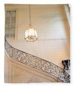Paris Rodin Museum Staircase - Rod Iron Black Staircase Archictecture - Paris Museum Staircase Print Fleece Blanket