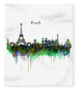 Paris Skyline Watercolor Fleece Blanket