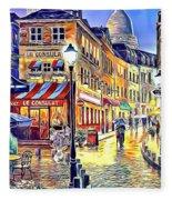 Paris Street Abstract 2 Fleece Blanket