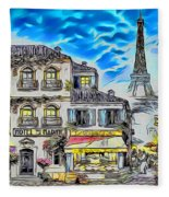 Paris Street Abstract 3 Fleece Blanket