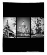 Paris Triptych Fleece Blanket