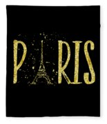 Paris Typografie - Gold Splashes Fleece Blanket