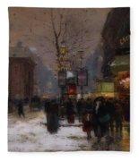 Paris Winter Scene Fleece Blanket
