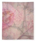 Parisian Romantic Collage Fleece Blanket