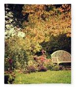 Park Bench, Fall Fleece Blanket