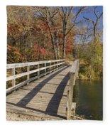 Park Bridge Autumn 2 Fleece Blanket