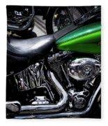 Parked Harleys Fleece Blanket