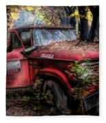 Parked On A Country Road Oil Painting Fleece Blanket