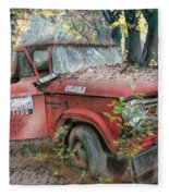 Parked On A Country Road Watercolors Painting Fleece Blanket