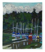 Parked Yachts Fleece Blanket