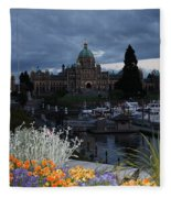 Parliament Building In Victoria At Dusk Fleece Blanket