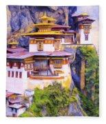 Paro Taktsang Monastery Bhutan Fleece Blanket