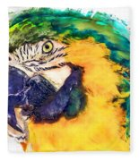 Parrot Ara Watercolor Painting Fleece Blanket