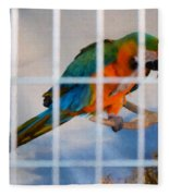 Parrot In A Cage Fleece Blanket