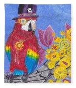Parrot In Gear Tree Fleece Blanket