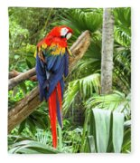 Parrot In Tropical Setting Fleece Blanket