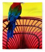 Parrot Sitting On Chair Fleece Blanket