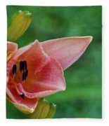 Partially Open Pink Lily Blossom Fleece Blanket