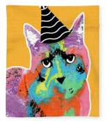 Party Cat- Art By Linda Woods Fleece Blanket