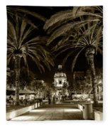 Pasadena City Hall After Dark In Sepia Tone Fleece Blanket