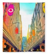 Passage Between Colorful Buildings Fleece Blanket