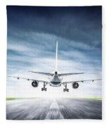 Passenger Airplane Taking Off On Runway Fleece Blanket