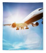 Passenger Airplane Taking Off, Sunny Blue Sky. Fleece Blanket