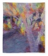 Pastel Leaves Fleece Blanket