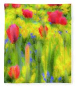 Pastel Summer Flowers  Fleece Blanket