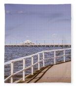 Pastel Tone Sea Pier Landscape Fleece Blanket