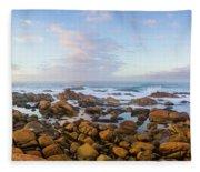 Pastel Tone Seaside Sunrise Fleece Blanket