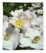 Pastel White Yellow Pink Roses Garden Art Prints Baslee Fleece Blanket