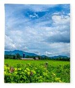 Pastoral Vermont Farmland Fleece Blanket