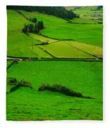Pastures In The Azores Fleece Blanket