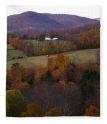 Patch Worked Mountains In Vermont Fleece Blanket