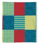 Patchwork Patterns - Muted Primary Fleece Blanket