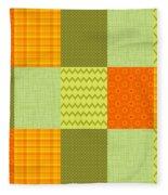 Patchwork Patterns - Orange And Olive Fleece Blanket