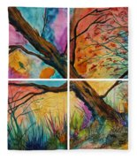 Patchwork Sky Tree Painting With Colorful Sky Fleece Blanket