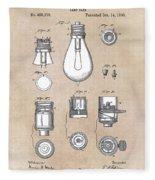patent art Edison 1890 Lamp base Fleece Blanket