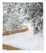 Path In Snow Fleece Blanket