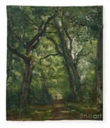 Path In The Forest Fleece Blanket