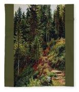 path in the woods 55h34 Ivan Ivanovich Shishkin Fleece Blanket