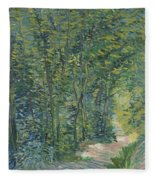 Path In The Woods Fleece Blanket