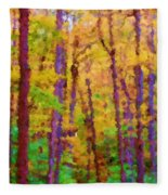 Path In The Woods Fleece Blanket