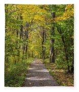 Path In The Woods During Fall Leaf Season Fleece Blanket