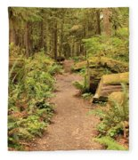 Path Through Mossy Forest Fleece Blanket