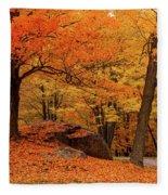 Path Through New England Fall Foliage Fleece Blanket